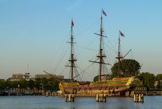 VOC ship in Amsterdam harbor. Netherlands Stock Photo