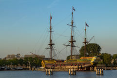 VOC ship in Amsterdam harbor. Netherlands Royalty Free Stock Photography