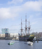 VOC ship in amsterdam Royalty Free Stock Photography