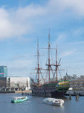 VOC ship in amsterdam. Replica of the famous dutch East India Company ship the amsterdam. This ship is an exact copy of the famous VOC ship that already sank on Royalty Free Stock Photography