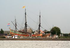 The Voc Ship Batavia. Netherlands,Flevoland,Lelystad august 2016: The Batavia is a replica of the original  of the Dutch East India Company Royalty Free Stock Photos