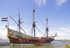 VOC ship in the Netherlands. VOC ship in Amsterdam harbor Netherlands Royalty Free Stock Photos