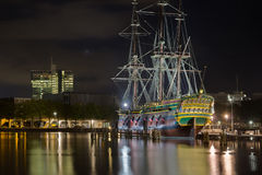 VOC ship. The original ship of VOC (Dutch East India Company) moored near the Sheepvaartmuseum, Amsterdam Stock Images