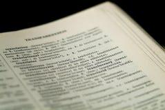 Vocabulario - palabra de la traducción Imagen de archivo libre de regalías