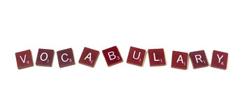 Vocabulary. The word vocabulary spelled out in scrabble letters Stock Photo