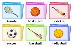 Vocabulary cards for sport equipments Stock Photography