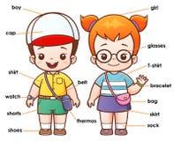 Vocabulary. Vector illustration of Cartoon Vocabulary clothing Stock Photos