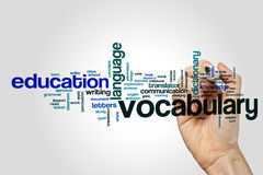 Vocabulary word cloud. Concept on grey background Royalty Free Stock Photography