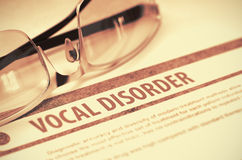 Vocal Disorder. Medicine. 3D Illustration. Vocal Disorder - Printed Diagnosis on Red Background and Spectacles Lying on It. Medicine Concept. Blurred Image. 3D stock photo