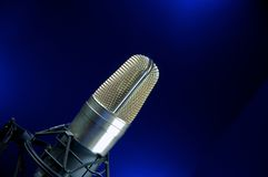 Vocal Mic. On Stand Music Recording & performance Stock Photo