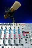 Vocal Mic and Mixer. Music Production, Audio Mixer and Vocal Mic Stock Photo