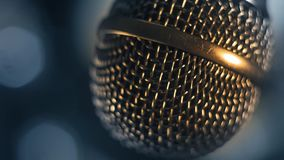 Microphone for vocal recording. Vocal recording microphone close-up in voice recording studio