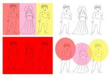 Vocal trio. Cute cartoon vector illustration Stock Image