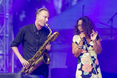 Vocalist and Singer Pat Appleton and Marcus Bartelt of World Renowned Jazz Ensemble De-Phazz Stock Image