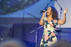 Vocalist and Singer Pat Appleton of World Renowned Jazz Ensemble De-Phazz Performing at A-Fest Stock Image