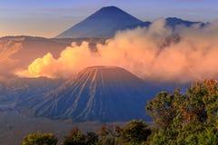 Vocalno ad alba, East Java di Bromo, l'Indonesia Fotografia Stock
