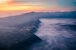 Vocalno Bromo στην ανατολή, ανατολική Ιάβα, Ινδονησία στοκ εικόνες