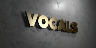 Vocals - Gold sign mounted on glossy marble wall  - 3D rendered royalty free stock illustration Stock Images