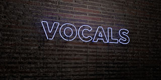VOCALS -Realistic Neon Sign on Brick Wall background - 3D rendered royalty free stock image Royalty Free Stock Images