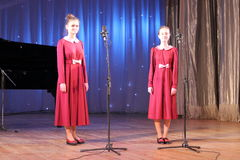 Vocals. Vocal duet children's choir Vognik on the stage of the Kyiv Palace of children and youth. Kiev. festival Steps talent Royalty Free Stock Photography