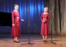 Vocals. Vocal duet children's choir Vognik on the stage of the Kyiv Palace of children and youth. Kiev. festival Steps talent Royalty Free Stock Images