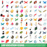 100 vocation icons set, isometric 3d style. 100 vocation icons set in isometric 3d style for any design vector illustration Royalty Free Stock Photo