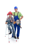 Vocational guidance concept. Child and worker with power tools stock photo