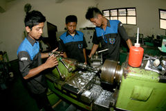 Vocational student. S are following the practice exam machine in the city of Solo, Central Java, Indonesia Stock Photo