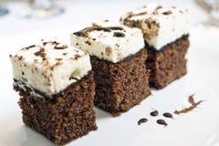 Vochtige cakestukken op plaat Stock Foto's