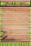 Voci di menu sul vecchio legno Immagine Stock