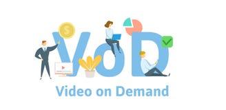 VOD, Video auf Anfrage Konzept mit Schlüsselwörtern, Buchstaben und Ikonen Flache Vektorillustration Getrennt auf weißem Hintergr stock abbildung