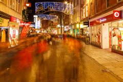 Vodafone and various shops at night, Christmas, Clumber Street i Royalty Free Stock Images