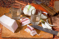 Vodca, banha salgado e cebola fresca Imagem de Stock