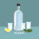 Vodca Bottle Glass With Cucumber Lemon Slice Alcohol Drink Icon Flat Stock Photos