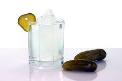 Vodca com gelo em pepinos do vidro e do sal Fotografia de Stock