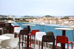 Vodice, Κροατία - 26 Μαΐου 2019: άποψη από το φραγμό ξενοδοχείων της Ολυμπία Sky στοκ φωτογραφία
