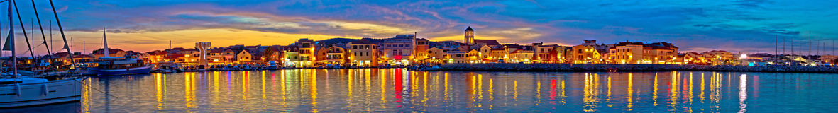 Vodice waterfront colorfu evening panorama Royalty Free Stock Images