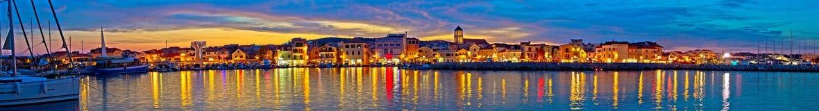 Vodice waterfront colorfu evening panorama. Dalmatia, Croatia Royalty Free Stock Images