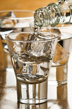 Vodka. Pouring cold vodka in to glass with ice cubes Royalty Free Stock Images