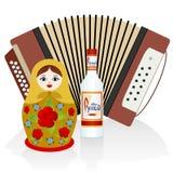 Vodka, acordeón, matryoshka Imágenes de archivo libres de regalías