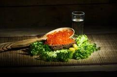 Vodka avec le caviar rouge Photographie stock