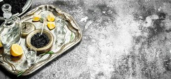 Vodka with black caviar and lemon. On rustic background Stock Image