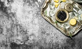 Vodka with black caviar and lemon. On rustic background Royalty Free Stock Photo
