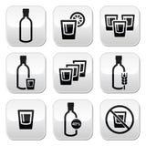 Vodka, botones fuertes del alcohol fijados ilustración del vector