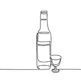 Vodka bottle and glass isolated. On white background. Continuous line drawing. Vector illustration Royalty Free Stock Photo