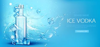 Vodka bottle with ice cubes mockup promo banner stock illustration