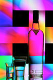 Vodka bottle and shot glasses. With colorful abstract background Stock Photos
