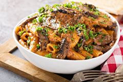 Vodka chicken pasta with marinara sauce. Tossed with rigatoni royalty free stock photography