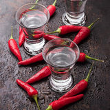 Vodka with chili peppers on rusty grunge table Stock Photos