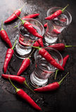 Vodka con pimientas de chile en la tabla oxidada del grunge Fotos de archivo